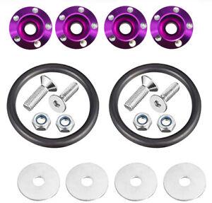 Quick Release Fasteners for Car Bumper Trunk Fender Hatch Lids Kit Purple