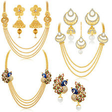 Sukkhi Gorgeous Peacock Gold Plated Set of 3 Necklace Set Combo(457CB2700)