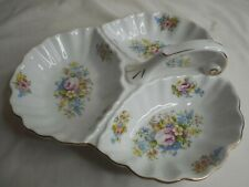 3 section Rose Floral Antique Reflections by Godinger Bowl Dish with Handle
