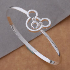 AS044 Free shippng Fashion Lovely Mickey Style Solid Silver Bangle + gift bag