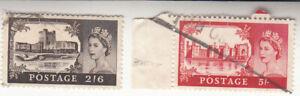 Great Britain 1955. 2/6 Carrickfergus Ireland, 5/- Caematon Wales. Sc #371-372