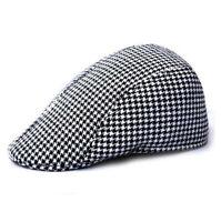 Adult Mens Hat Beret Houndstooth Baseball Cap Peaked Casquette Pageboy Hat Black