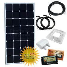 100 W 12 V Twin Batterie Solar Charging Kit Caravane RV Camper Bateau Van 100 W