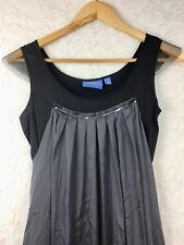 VERA WANG Simply Vera 2 Dark Gray & Black Sleeveless Dress with Sequins Holiday
