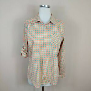 Lucy Activewear Button Up Shirt Top Roll Tab Sleeve Gingham Plaid L Large