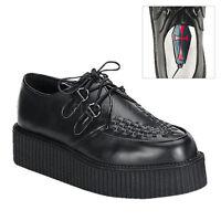 "Demonia Black Leather Platform 2"" Creepers Shoes Goth Rockabilly Punk 11"