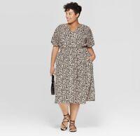New Ava & Viv Plus Size  Shirtdress Matching Cami  Leopard Print Dress 4X Fall