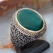 925 Sterling Silver Mens Ring Green Agate Aqeeq Gemstone Elegant Turkish Jewelry