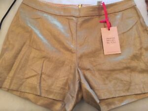 New With Tags JULIE BROWN Metallic Gold Linen Shorts Size 8-10