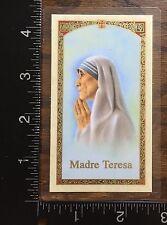 PRAYER CARD TO MOTHER TERESA OF CALCUTTA, SPANISH TEXT, LAMINATED CARD #JHS92