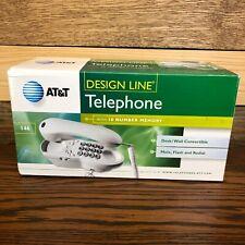 AT&T Design Line Corded Telephone 10 Number Memory White Wall Desk Landline 146