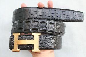 "W 1.3"" Black Genuine CROCODILE Hornback Skin MEN'S Belt Replacement Belt"