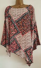 NEW Plus Size 16-28 Poppy Floral Print Bell Sleeve Asymmetric Tunic Top Blouse