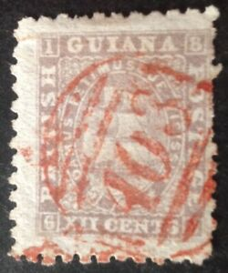 British Guiana 1863-76 12 cent lilac stamp With A03 red cancel