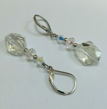 Made With Swarovski Crystal & 925 Sterling Silver - Clear - 4cm Drop Earrings