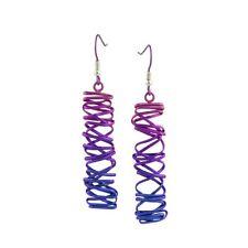 Rectangle Chaotic Pink Drop Titanium Earrings