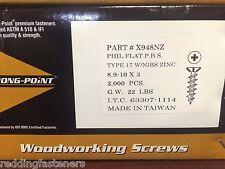"INTERCORP X948NZ #9-10 X 3"" Particle Board Cabinet Screws (Philips) 2,000/BOX"