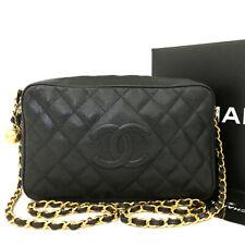 CHANEL Quilted Matelasse CC Logo Lambskin Chain Shoulder Bag Black / aDAX x