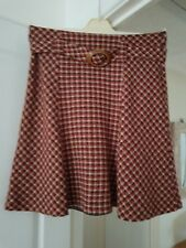 Super Phase Eight Red Multi Check Skirt, Fully Lined, Calf Length, Size 16, VGC