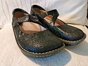Alegria PG Lite Black pebbled sz 40 9 Mary Jane wedge Day - 561 Metallic