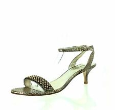 Women's Shoes Pelle Moda Fabia Gold Brown Heel Leather Sandals Size 6.5 M NEW