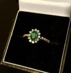 14ct Yellow Gold Emerald & Diamond cluster ring