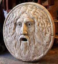 The Mouth of Truth. La Bocca della Verità. Large Roman Italian Sculpture Statue.