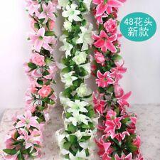 Artificial Rattan Flower Plastic Portable Lily String Garland Wedding Decoration
