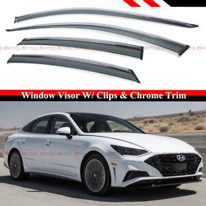 FOR 2020-2021 HYUNDAI SONATA CHROME TRIM SMOKE WINDOW VISOR RAIN GUARD W/ CLIPS