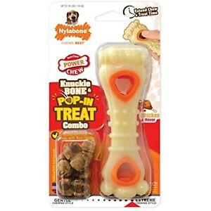 Nylabone Power Chew Knuckle Bone & Pop-in Treat Toy Combo Chicken Flavor
