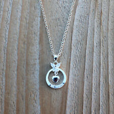 "Necklace 18"" Pendant Womens Mom Gift New 925 Sterling Silver Cubic Heart Love Cz"