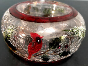 "Yankee CandleCardinal Holly-Berry Winter Scene Crackle Glass Votive Holder 2x4"""