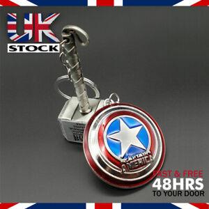 Thor Hammer Mjolnir & Captain America Shield Keyring Combo Set Marvel Avengers
