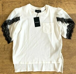 BNWT The Kooples Black Lace Shoulder Sleeve White T-Shirt Top, Size 2 UK 12