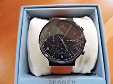 NEW $195 SKAGEN *RARE* 40MM ANCHER LEATHER STRAP WATCH BLACK CAMEL SKW6359