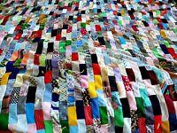 "Vtg 60s 70s Patchwork Boho Colorful Crazy Quilt 94"" x 62"" Texture Patterns FLAWS"