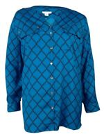 Charter Club Women's Crepe Roll-Tab Button-Up Blouse (PM, Arctic Sky Combo)