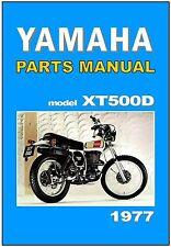 YAMAHA Parts Manual XT500 XT500D 1977 Replacement Spares Catalog List