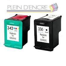 Pack 2 cartouche HP 336 XL Black + HP 342 XL Color imprimante Photosmart 2575