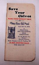 1940-50'S RYDE CREAM CALF MEAL POCKET MEMO BOOK-FEED-FARM-ILLINOIS