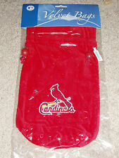 St Louis Cardinals Red Velvet Gift Bag with the Bird on the Bat Logo - New