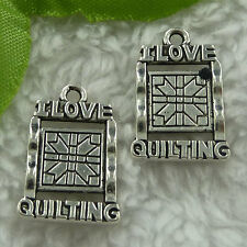 Free Ship 200 pieces tibet silver love quilting charms 21x14mm #1928
