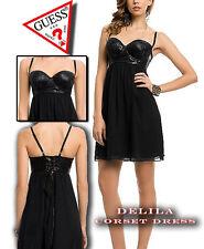 GUESS Delila Corset Mini Dress Jet Black Size 1 NWT $98