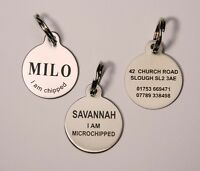 Dog Tag, Pet ID Tag,  Dog Disc.  Stainless Steel,  Laser engraved  FREE POSTAGE