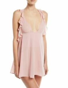 La Perla Elements S Powder Pink Silk Georgette Babydoll Lurex Embroidery $860