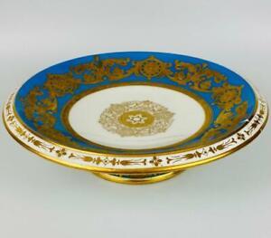 Antique Davenport Longport Porcelain Tazza~Cake Stand~English Gold Gilt Pre 1820