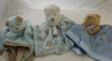 3 Snuggle Cuddly Security Blankets Infant Baby Toddler BOY Child BLUE BEAR Nice