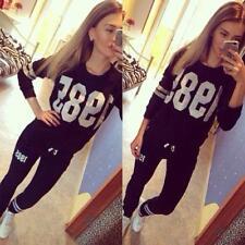 2Pcs Lady Womens Tracksuit Hoodies Sweatshirt Pants Sets Sports Wear Suit JJ