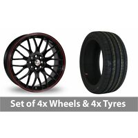 """4 x 16"""" Calibre Motion 2 Black Red Alloy Wheel Rims and Tyres -  225/50/16"""