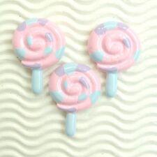 "US SELLER - 9 pcs x (1 3/8"") Resin Flatback LOLLIPOP Candy Bead Appliques SB638P"